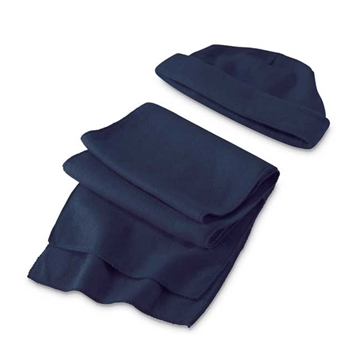 Picture of Beanie and scarf set. Polar fleece: 200 g/m². Scarf: 1500 x 250 mm | Beanie: 290 x 200 mm modrá
