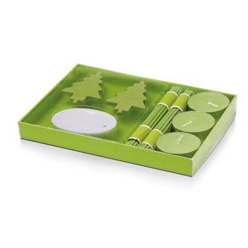 Picture of Aromatic set. 3 candles and incense. Box: 164 x 120 x 17 mm zelená
