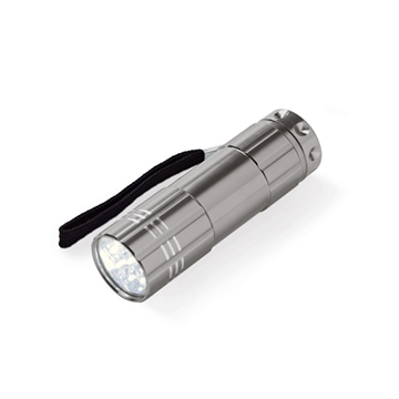 Obrázek Flashlight. Aluminium. 9-LED. 3 AAA batteries not included. With 600D pouch. ø24 x 87 mm | Pouch: 35